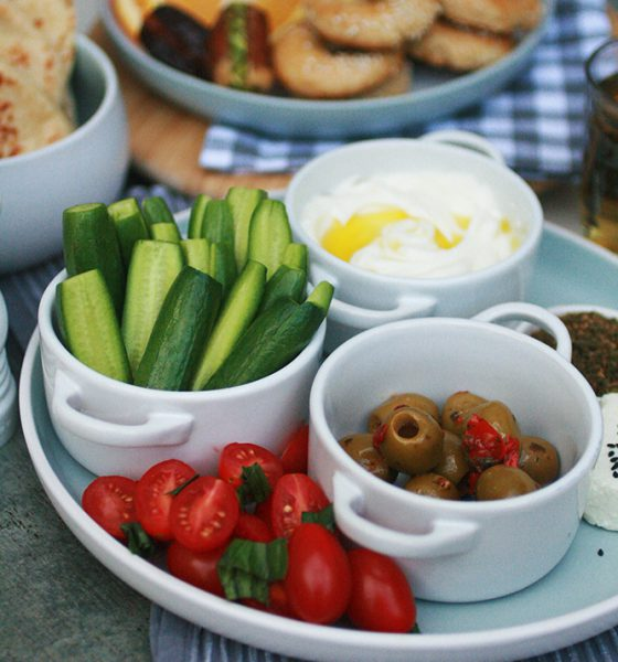 Inspiration: A simple Mezze featuring homemade Yeast Parata and Sesame seed biscuits