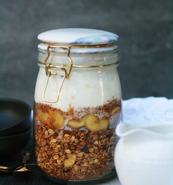 Make-ahead Overnight Oats; Banana Bread Muesli with Caramalised Banana